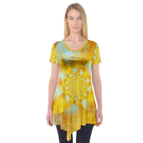 Gold Blue Abstract Blossom Short Sleeve Tunic