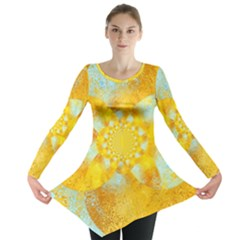 Gold Blue Abstract Blossom Long Sleeve Tunic