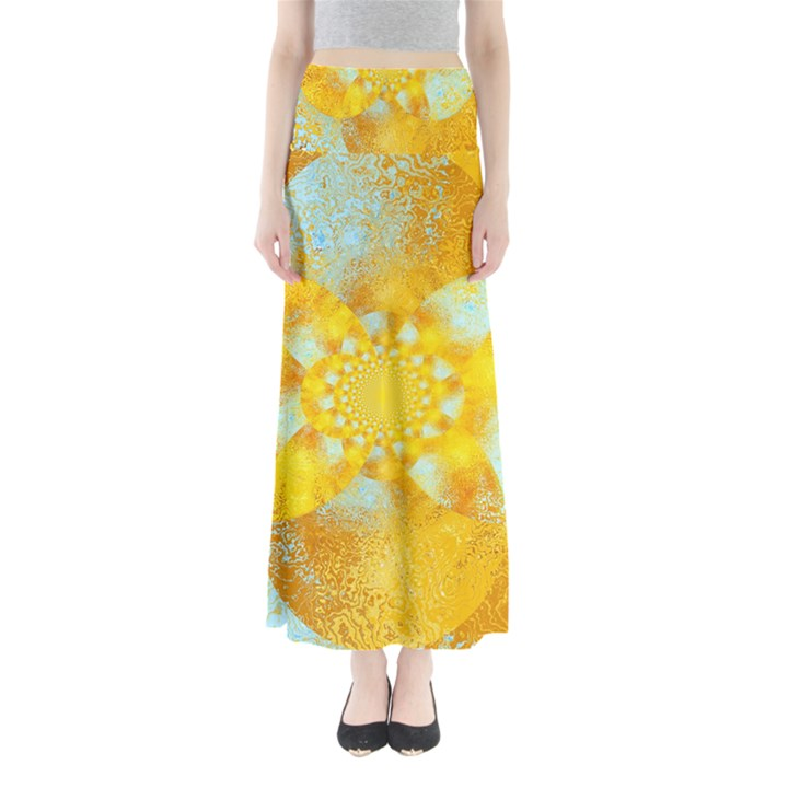 Gold Blue Abstract Blossom Maxi Skirts