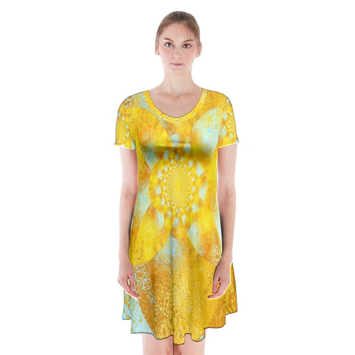 Gold Blue Abstract Blossom Short Sleeve V-neck Flare Dress