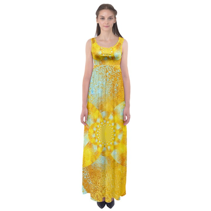 Gold Blue Abstract Blossom Empire Waist Maxi Dress