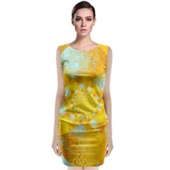 Gold Blue Abstract Blossom Classic Sleeveless Midi Dress