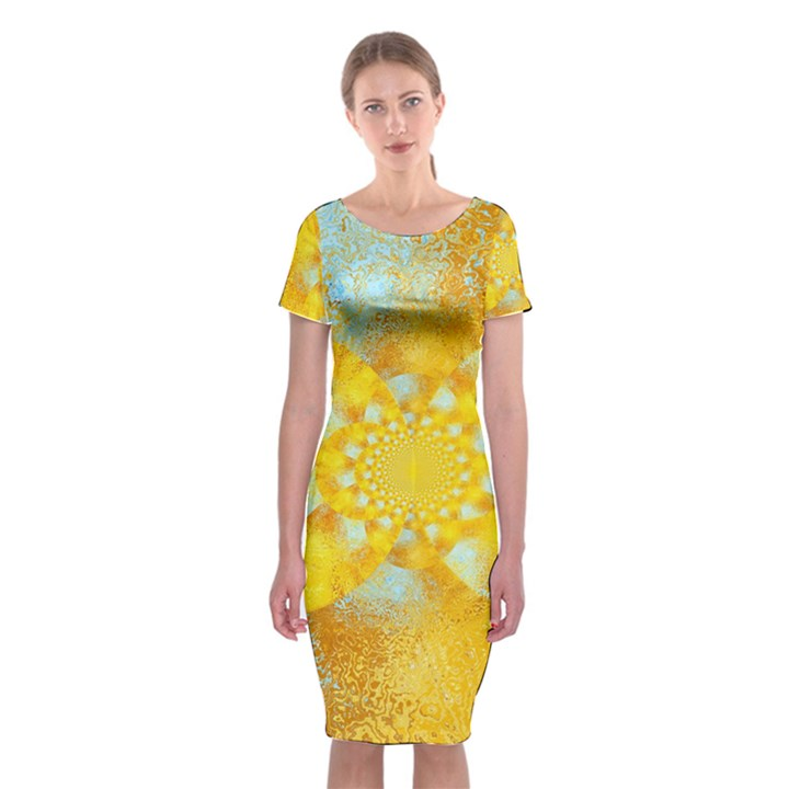 Gold Blue Abstract Blossom Classic Short Sleeve Midi Dress