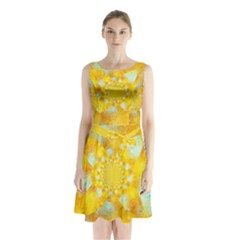 Gold Blue Abstract Blossom Sleeveless Chiffon Waist Tie Dress