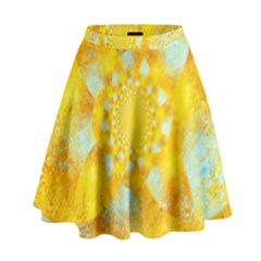 Gold Blue Abstract Blossom High Waist Skirt