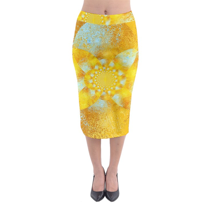 Gold Blue Abstract Blossom Midi Pencil Skirt