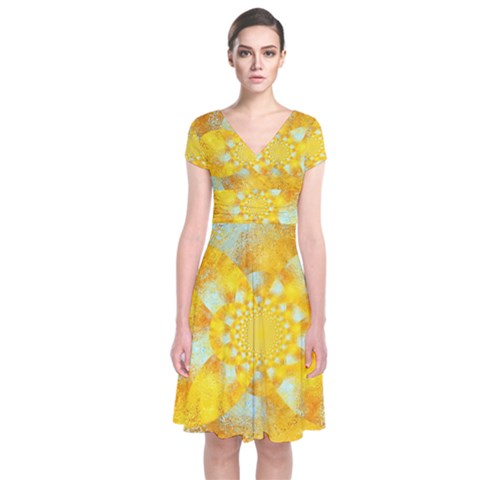 Gold Blue Abstract Blossom Short Sleeve Front Wrap Dress
