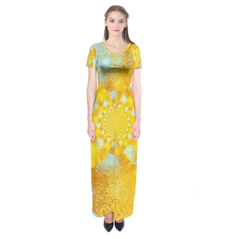 Gold Blue Abstract Blossom Short Sleeve Maxi Dress