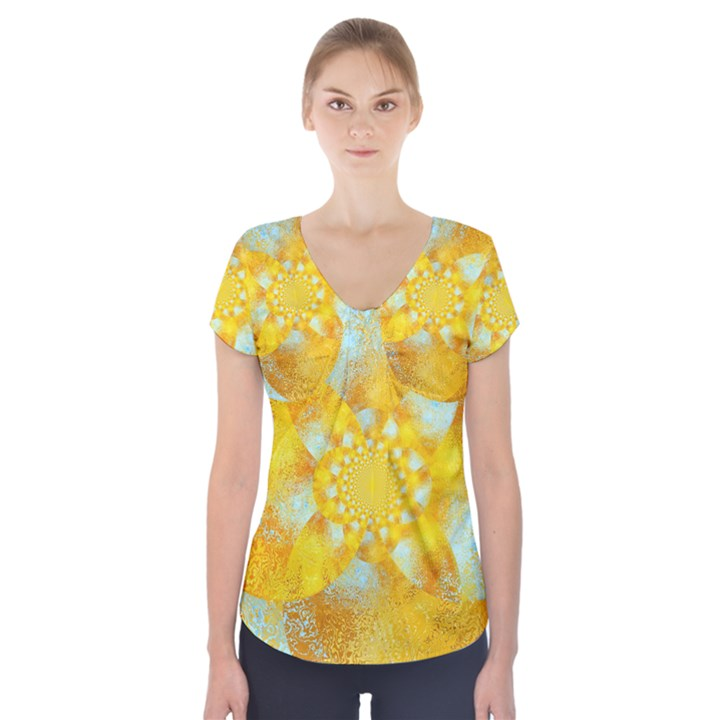 Gold Blue Abstract Blossom Short Sleeve Front Detail Top