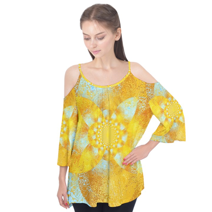Gold Blue Abstract Blossom Flutter Tees