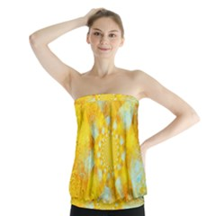 Gold Blue Abstract Blossom Strapless Top