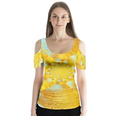 Gold Blue Abstract Blossom Butterfly Sleeve Cutout Tee