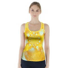 Gold Blue Abstract Blossom Racer Back Sports Top
