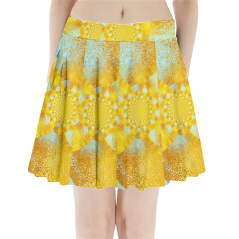 Gold Blue Abstract Blossom Pleated Mini Skirt