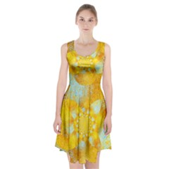 Gold Blue Abstract Blossom Racerback Midi Dress