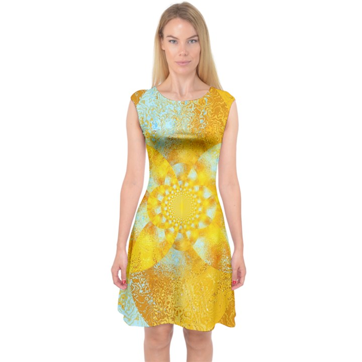 Gold Blue Abstract Blossom Capsleeve Midi Dress