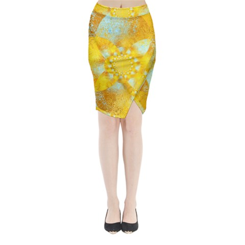 Gold Blue Abstract Blossom Midi Wrap Pencil Skirt