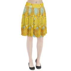 Gold Blue Abstract Blossom Pleated Skirt
