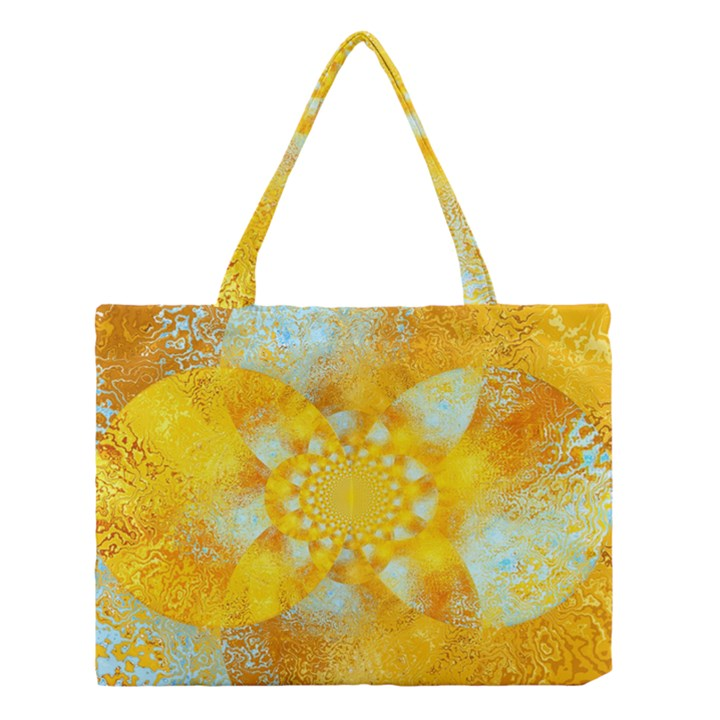 Gold Blue Abstract Blossom Medium Tote Bag