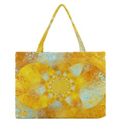Gold Blue Abstract Blossom Medium Zipper Tote Bag