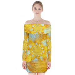 Gold Blue Abstract Blossom Long Sleeve Off Shoulder Dress