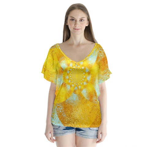 Gold Blue Abstract Blossom Flutter Sleeve Top