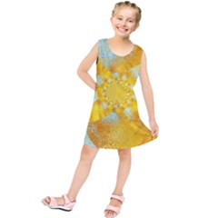 Gold Blue Abstract Blossom Kids  Tunic Dress