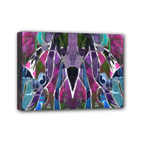 Sly Dog Modern Grunge Style Blue Pink Violet Mini Canvas 7  X 5