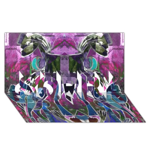 Sly Dog Modern Grunge Style Blue Pink Violet SORRY 3D Greeting Card (8x4)