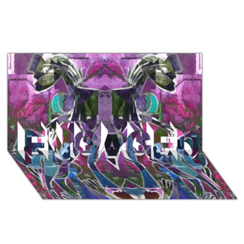 Sly Dog Modern Grunge Style Blue Pink Violet ENGAGED 3D Greeting Card (8x4)