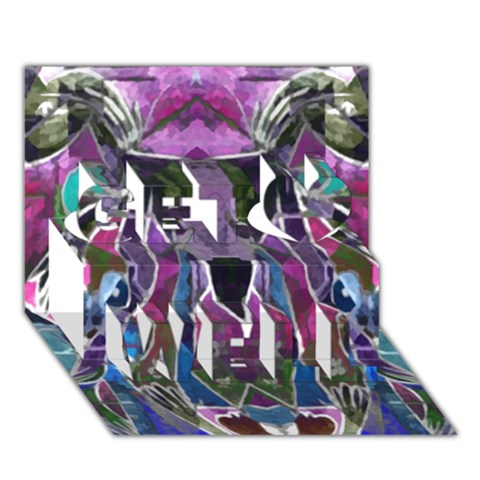 Sly Dog Modern Grunge Style Blue Pink Violet Get Well 3D Greeting Card (7x5)