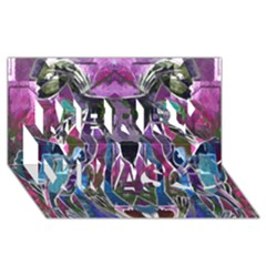 Sly Dog Modern Grunge Style Blue Pink Violet Merry Xmas 3D Greeting Card (8x4)