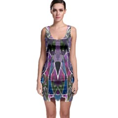 Sly Dog Modern Grunge Style Blue Pink Violet Sleeveless Bodycon Dress