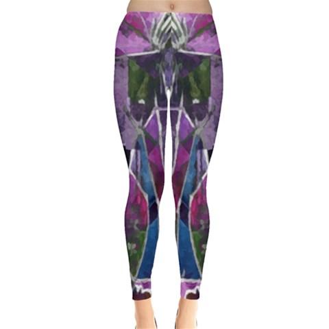 Sly Dog Modern Grunge Style Blue Pink Violet Leggings