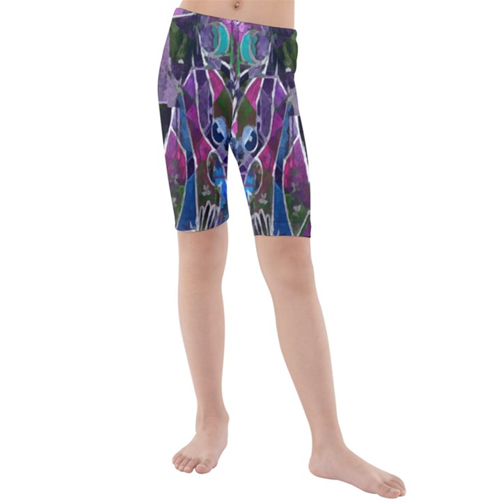 Sly Dog Modern Grunge Style Blue Pink Violet Kids  Mid Length Swim Shorts