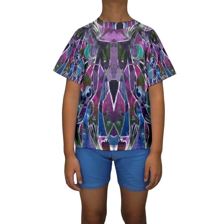 Sly Dog Modern Grunge Style Blue Pink Violet Kids  Short Sleeve Swimwear