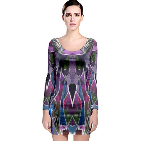 Sly Dog Modern Grunge Style Blue Pink Violet Long Sleeve Bodycon Dress