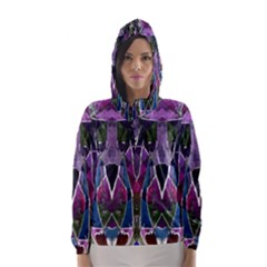 Sly Dog Modern Grunge Style Blue Pink Violet Hooded Wind Breaker (Women)