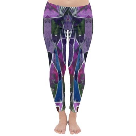 Sly Dog Modern Grunge Style Blue Pink Violet Winter Leggings
