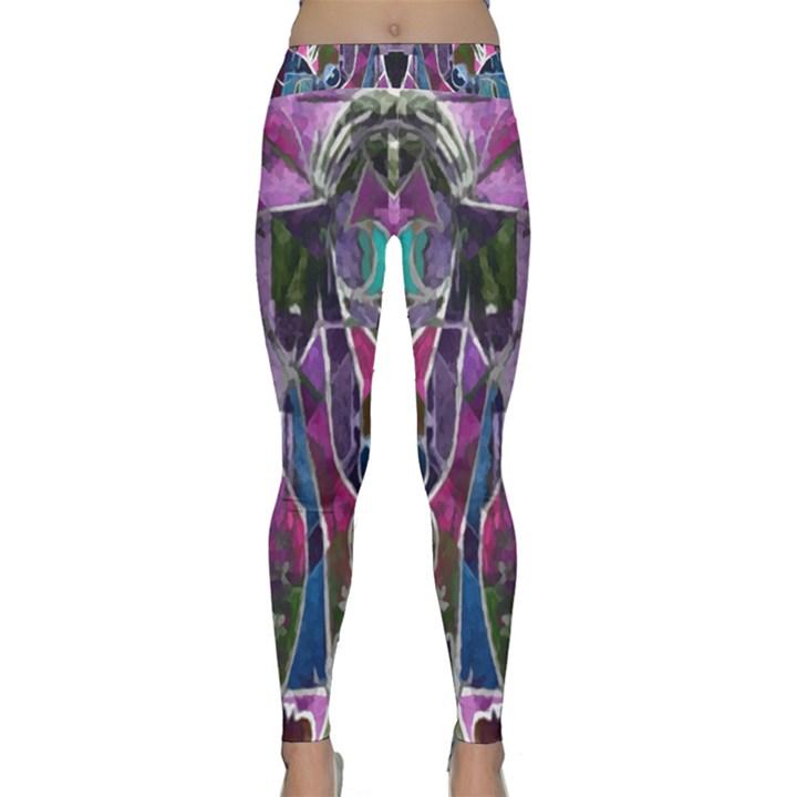 Sly Dog Modern Grunge Style Blue Pink Violet Yoga Leggings