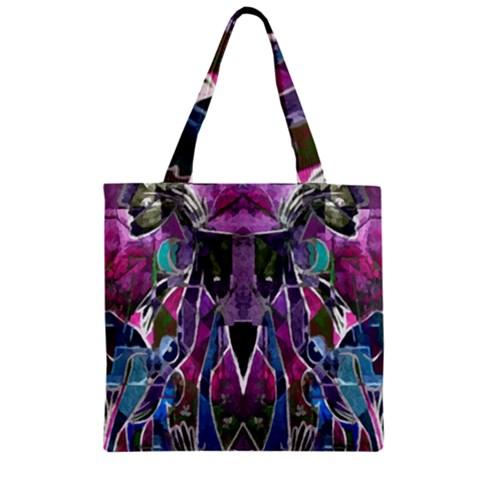 Sly Dog Modern Grunge Style Blue Pink Violet Zipper Grocery Tote Bag