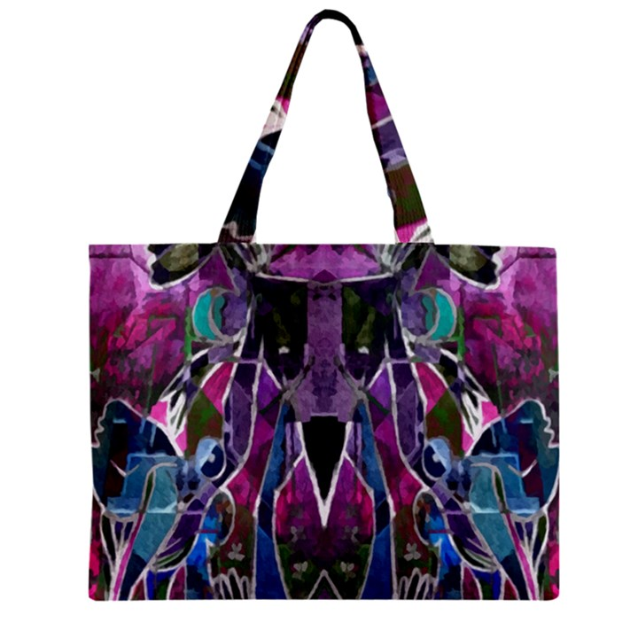 Sly Dog Modern Grunge Style Blue Pink Violet Zipper Mini Tote Bag