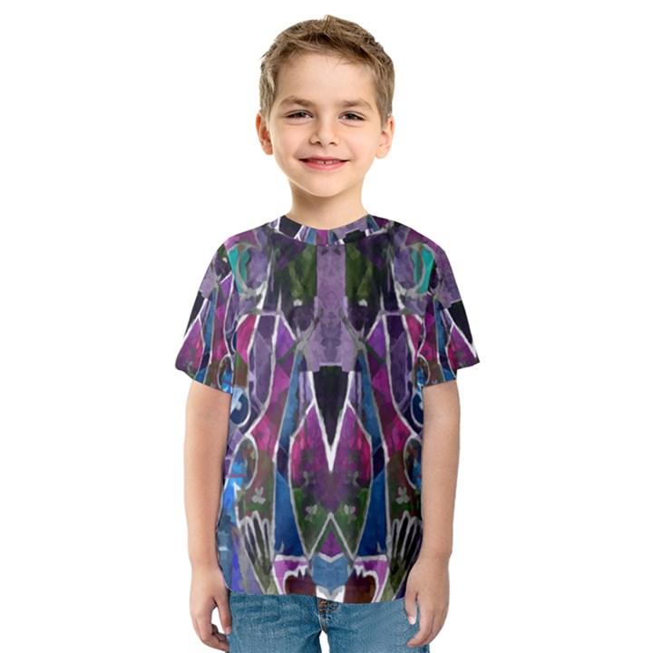 Sly Dog Modern Grunge Style Blue Pink Violet Kids  Sport Mesh Tee