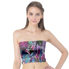 Sly Dog Modern Grunge Style Blue Pink Violet Tube Top