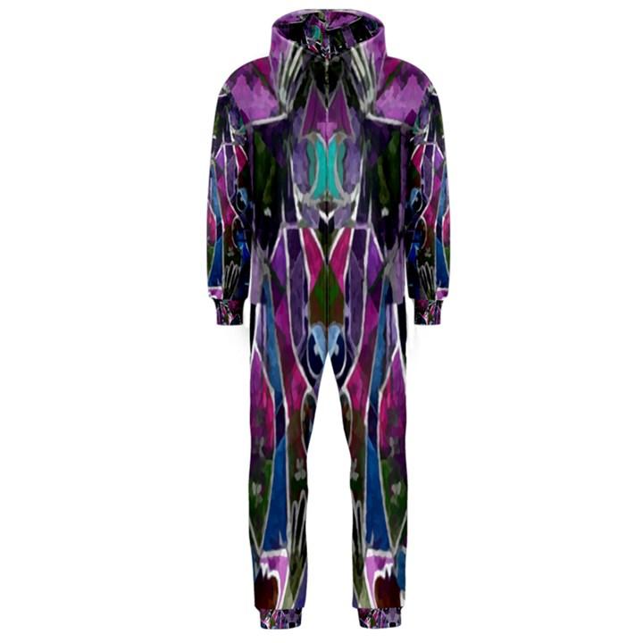 Sly Dog Modern Grunge Style Blue Pink Violet Hooded Jumpsuit (Men)