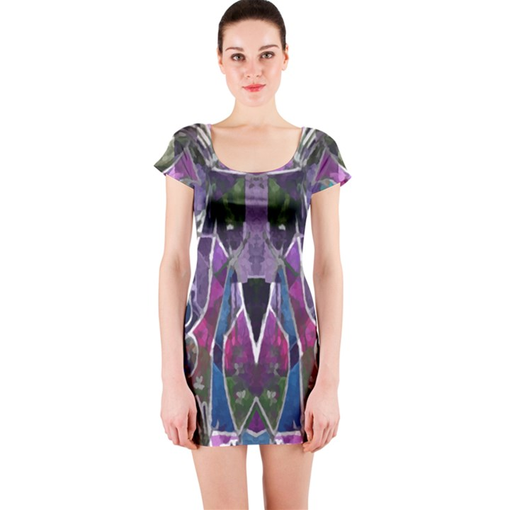 Sly Dog Modern Grunge Style Blue Pink Violet Short Sleeve Bodycon Dress