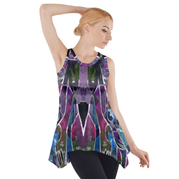 Sly Dog Modern Grunge Style Blue Pink Violet Side Drop Tank Tunic