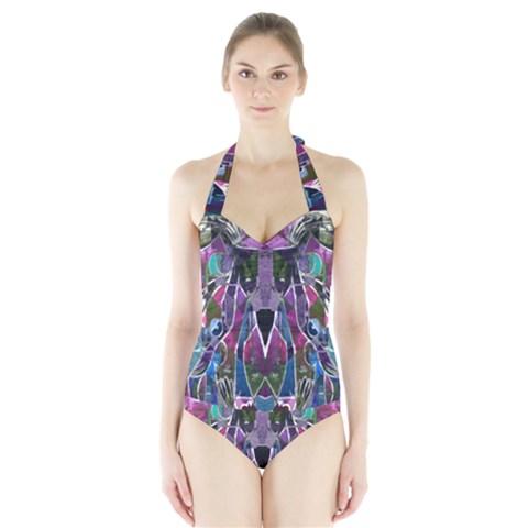 Sly Dog Modern Grunge Style Blue Pink Violet Halter Swimsuit