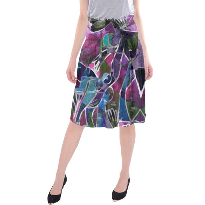 Sly Dog Modern Grunge Style Blue Pink Violet Midi Beach Skirt