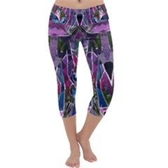 Sly Dog Modern Grunge Style Blue Pink Violet Capri Yoga Leggings